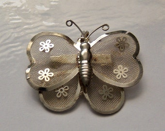 Mesh Butterfly Brooch. Butterfly Pin with Flower Accents.