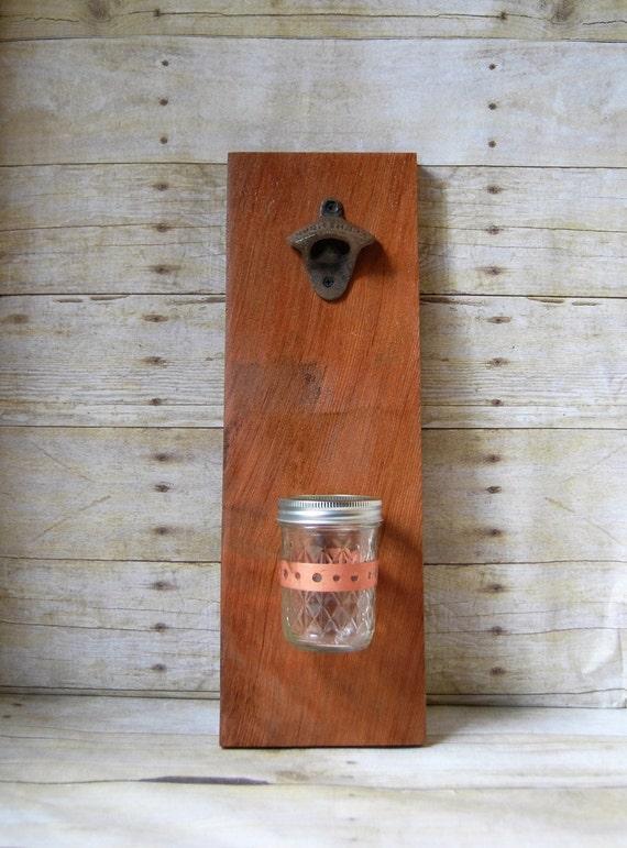 Custom wall mounted bottle opener rustic reclaimed old - Personalized wall mount bottle opener ...