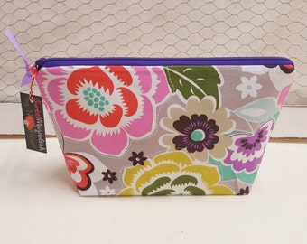 Makeup bag, Cosmetic bag, Travel pouch, Floral