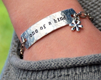 One little word - Personalized ID stamped metal chain bracelet - custom word - one little word - inspirational -  Love Squared Designs