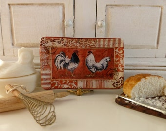 Country Farm Red Rooster Dollhouse Miniature Tray