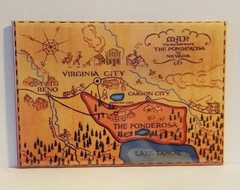 "BONANZA PONDEROSA MAP 2"" x 3"" Fridge Magnet Art Vintage"