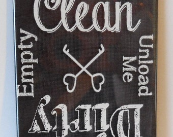 "Dishwasher Clean Dirty Country Chalkboard 2"" x 3"" Fridge Magnet Art Vintage"