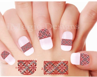 Nail Decals Stickers, Elegant Water Slide Nail Transfers, Ukrainian Embroidery