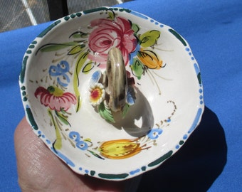 Vintage Italy Floral Ceramic  Decorative Trinket  Dish With Handle