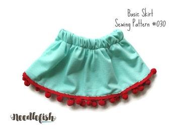 SKIRT SEWING PATTERN - Twirl Skirt Pattern - Toddler Skirt Pattern - Baby Skirt Pattern - Basic Skirt Pattern - Sizes 0mo-6yrs
