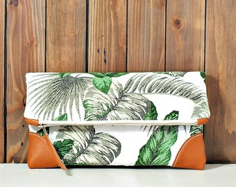 Palm leaves Fold over clutch purse with tan leather details and magnetic closure/fresh/summer trend