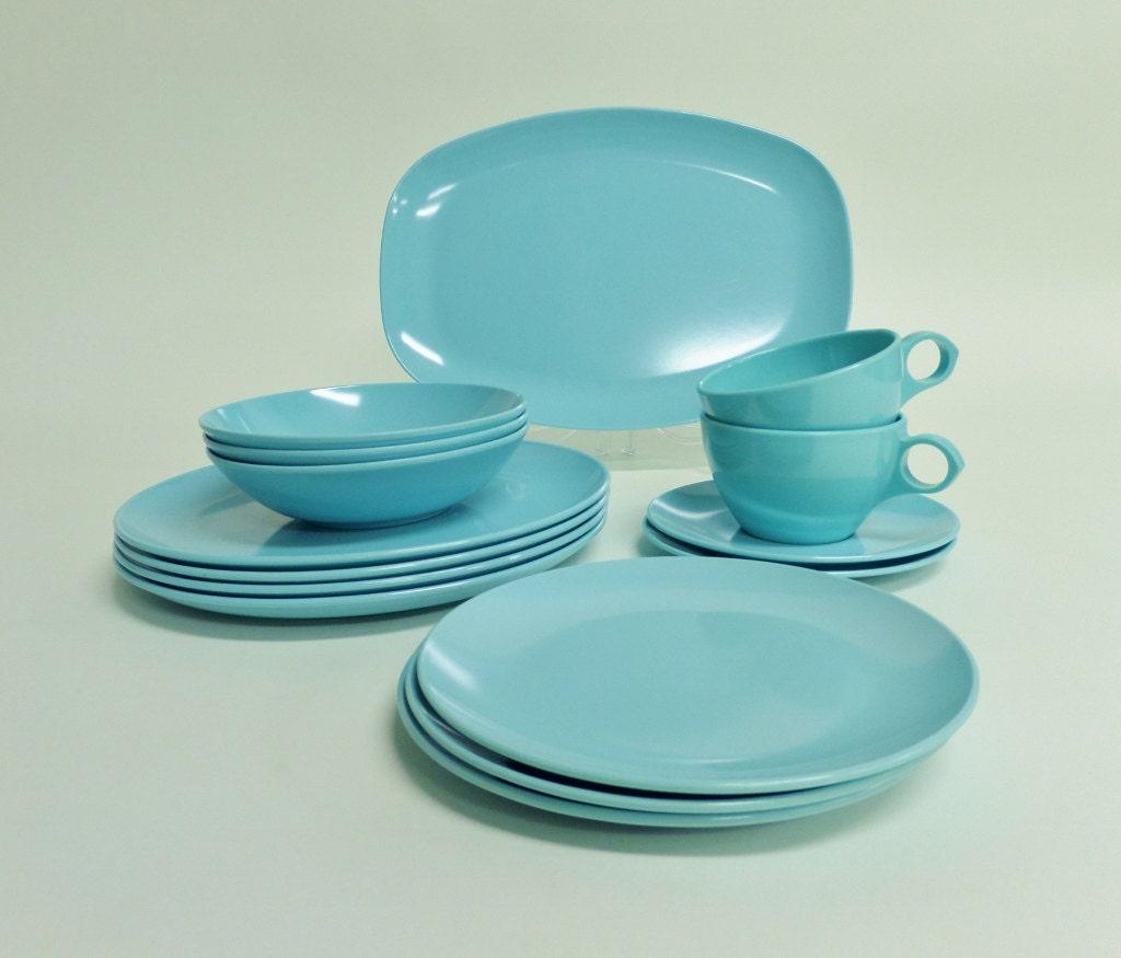 1950s Dishes: Vintage 15 Piece Aqua Blue Roymac Melmac Dishes Retro