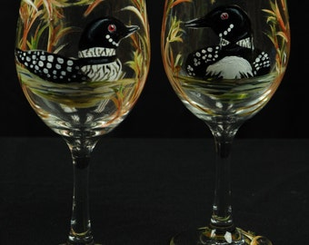 Set of Two / Hand Painted Large Wine Glasses / Lake Loons On Clear Glass
