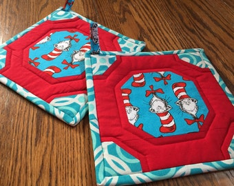 Pair of Cat in the Hat Potholders
