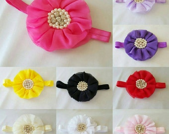 Chiffon ruffled flower with pearl center on foe headband