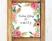 Custom Listing For Emily