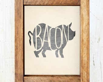 Bacon Print - Pig Silhouette - INSTANT DOWNLOAD