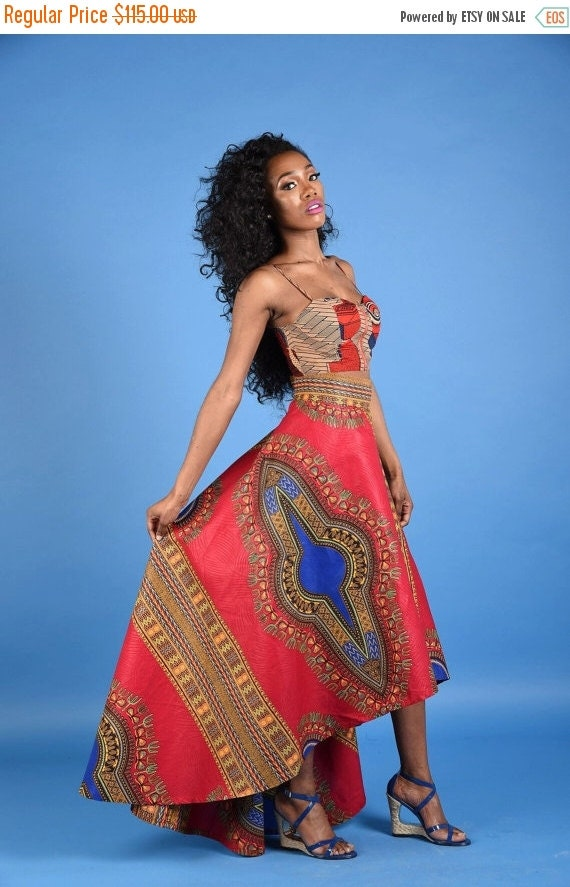 Clearance NEW Red Dashiki High low Skirt