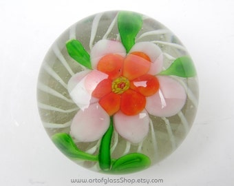 Chinese lamp work flower glass paperweight