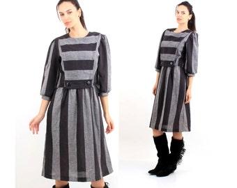 80s Dres / Avant Garde Dress / Striped Dress / Colorblock Dress / Knee Length Dress / Size M  San Francisko