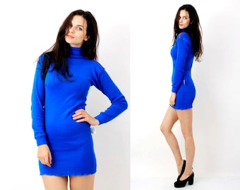 70s Blue Dress / Tight Dress / Blue Mini Dress / Turtle Neck Dress / Long Sleeve Dress Size S M Made in Norway