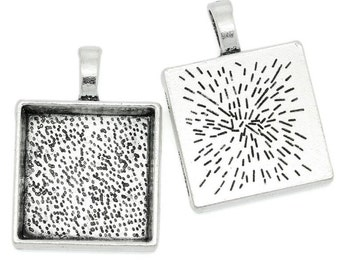 """10 Charm Pendants Square Antique Silver Cabochon Setting Approx. 7/8"""" BLANKS"""