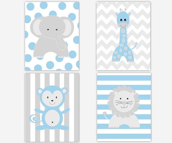 Baby boy nursery wall art blue gray elephant giraffe lion - Wall decor for baby boy ...
