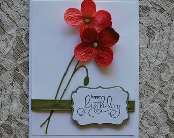 Handmade Greeting Card: hand made card, bright pink, orange flowers, simple, elegant