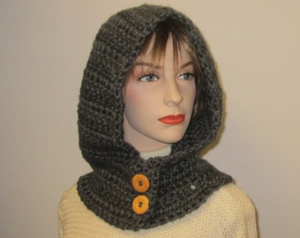 Charcoal Gray Hooded Scarf, Hoodie Scarves, Crochet Hoodie, Oversized Scarf, Knit Scarf, Gift for Teen, Caroline B4-111
