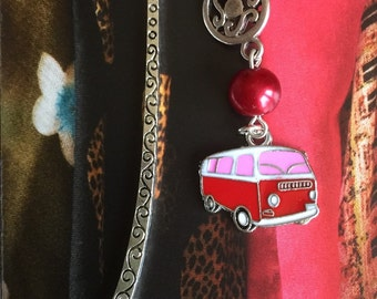 Silver Bookmark with pink campervan