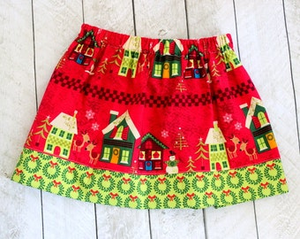 Christmas skirt Girls Christmas skirt with Santa Reindeer Sleigh in red and green