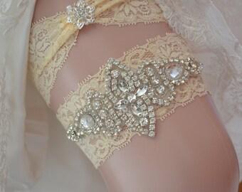Bridal Garter Set, Crystal Bridal Garter Set, Vintage Inspired Wedding Stretch Lace Garter, Bridal Garter, Garter