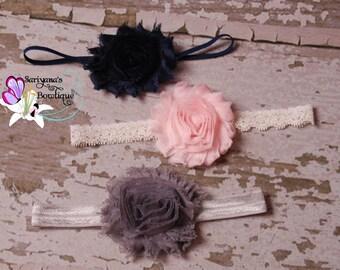 Baby Toddler Girl Woman Headband Set, Shabby Flower Headband, Navy Blue Blush Pink Ivory Silver Gray - SBst-005