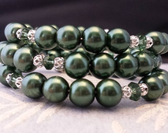 8mm Forest Green Glass Pearls and 4mm Rondelle Dark Green Glass Crystals Memory Wire Bracelet.