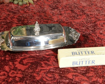 Wallace Silver Butter Dish - Baroque Pattern - Silver Plate Covered Butter Dish - Glass Liner