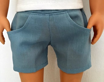 Linen Blue Doll Shorts -  18 Inch Doll Shorts - Doll Shorts - Blue Doll Shorts - Doll Clothes - Doll Accessaries