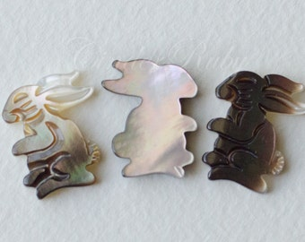 Cute Black MOP Hand Carved Bunny,Lovely Brown/Black Mother of Pearl Rabbit Connectors,11x13.5 mm, Set of 4