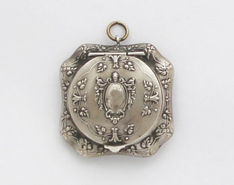 Antique French Powder Compact Pendant Pill Box Medaillon Locket