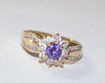 Cubic Zirconia Purple Ring 14k yellow gold - 6.25 size - sku 1550n1