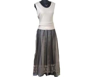 TWO LAYERED SKIRT, Full silk skirt, Long layered skirt, full circle skirt, Skirt & top combo, fully lined flared skirt, Vintage full skirt