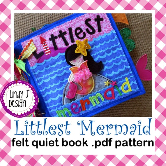 Felt Book Cover Pattern ~ Littlest mermaid quiet book pdf pattern