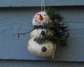 Snowman tree ornie, primitive Christmas,snowman ornie,folkart snowman ,FAAP,OFG