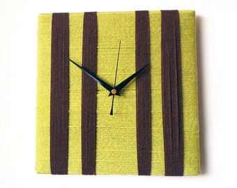 Unique Wall Clock Lime Green and Dark Brown Chocolate Wool Yarn Wall Art Square Clock