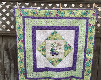 Spring Green and Purple Baby Quilt