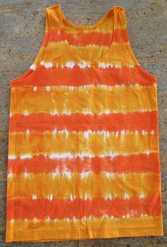 Tie Dye Yoga Tank Top/Adult Unisex Shirt/Orange & Yellow/Eco-Friendly Dying