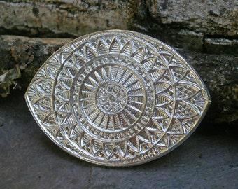 Bright Silver Plated Brass Stamping Filligree Eye