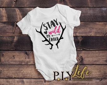Baby | Stay Wild my Child Baby Bodysuit DTG Printing on Demand