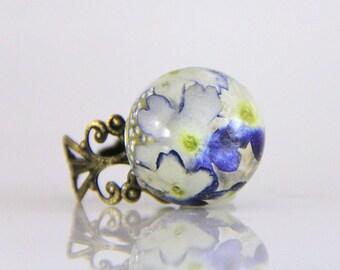 Terrarium ring, Resin Flower Jewelry, Pressed Flower Jewelry, Statement Ring, Big Ring, Purple Ring, Flower Ring,  Festival Jewelry