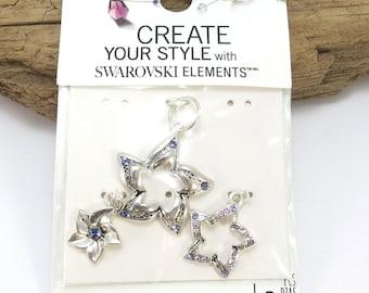 Swarovski Crystal Flower Charms, 3 Flowers with Tanzite and Voilet Swarovski Crystals, Flower Necklace, Item 944m