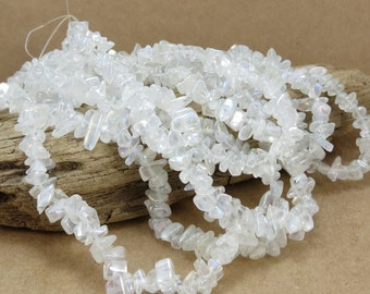 Glass Beads, 36 inch Strand, Clear Glass Beads with Aurora Borealis Finish, Beading Supplies, Item 787gss