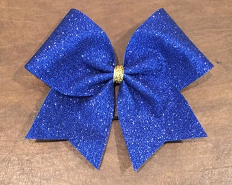 Cheer Bow - Royal Blue Glitter