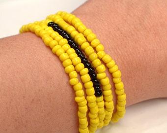 Yellow & Black Bead Wrap Bracelet, Yellow Wrap Bracelet, Black Bead Bracelet, Long Yellow and Black Bead Strand 5X Wrap Bracelet (B125)