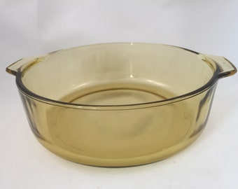 Amber Glass Bowl with Handles, Mexico Brand