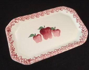 1995 Neher Platter, Apple Design, Signed on Back, Desserts, Breads, Meats, Veggies, Decorative, Retro